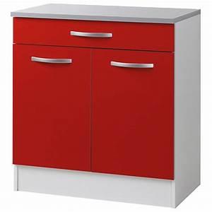 Meuble Bas 2 Portes : meuble bas 2 portes 1 tiroirs 80cm smarty rouge ~ Dallasstarsshop.com Idées de Décoration