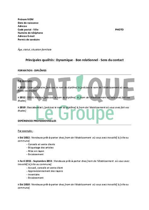 emploi vendeuse pret a porter mod 232 le de cv pour un emploi de vendeuse en pr 234 t 224 porter 233 tudiant pratique fr