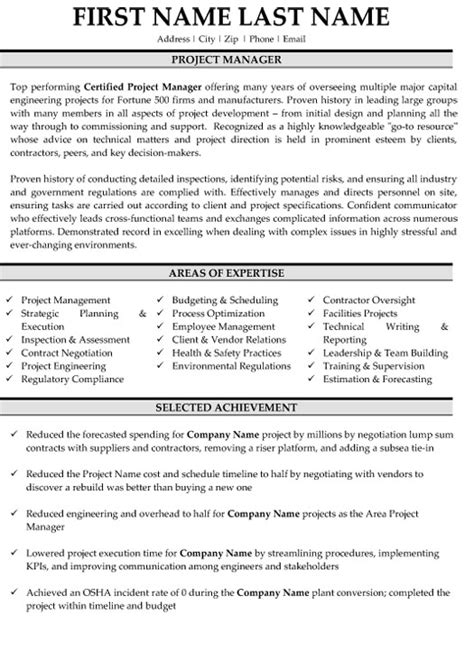 project manager resume template top project manager resume templates sles
