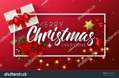 Merry Christmas Everyone Vintage Background Typography