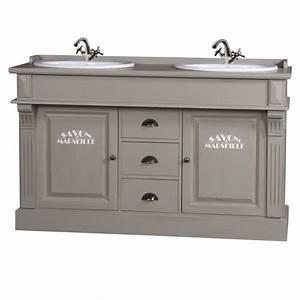 Mobilier Salle De Bain : meuble de salle de bain double vasque pin gris mobilier salle de bain ~ Teatrodelosmanantiales.com Idées de Décoration