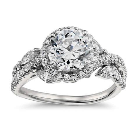 Monique Lhuillier Floral Halo Diamond Engagement Ring In