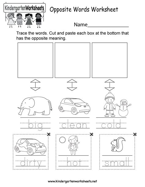 english opposites worksheet  kindergarten english