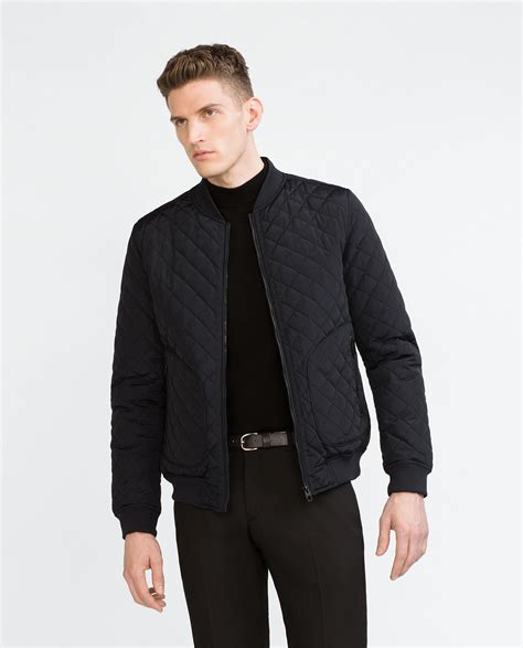 quilted bomber jacket mens zara quilted bomber jacket in blue for lyst
