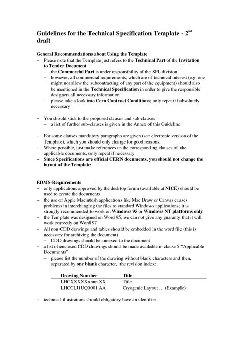 technical specification document template 5 best images of technical specification template technical specification document template