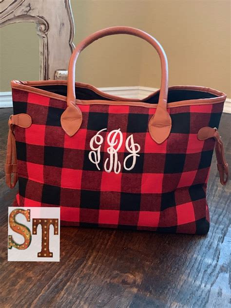 monogrammed red  black buffalo plaid tote purse bag plaid purse bags tote purse