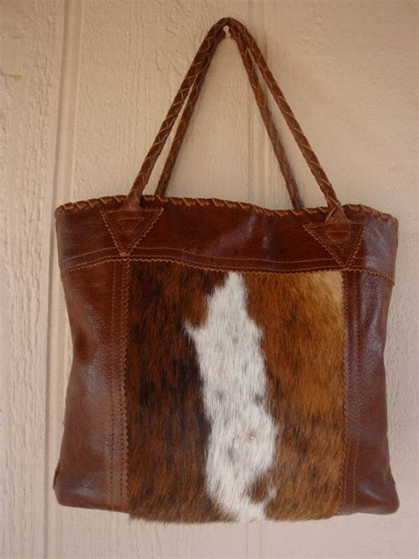 Hair On Cowhide Purse by Brown Leather Tote Bag Purse With Hair On Cowhide And