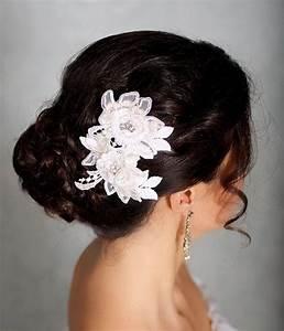 Ivory Hair Flowers Lace Headpiece Bridal Hair Flowers