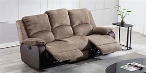 Keston, Manual, 3, Seater, Recliner, Sofa, In, Brown, Jumbo, Cord