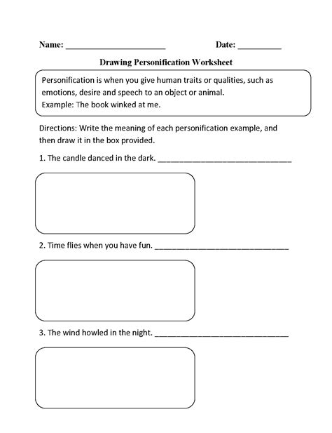Figurative Language Worksheets  Personification Worksheets