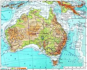 Large Detailed Physical Map Of Australia In Russian