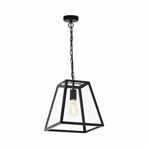 Amesbury, Black, Steel, Clear, Glass, Single, Pendant, Light, 49882