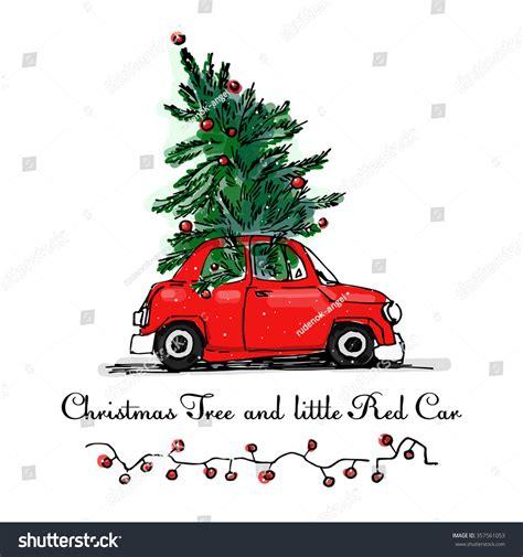 red car christmas tree vector card stock vector