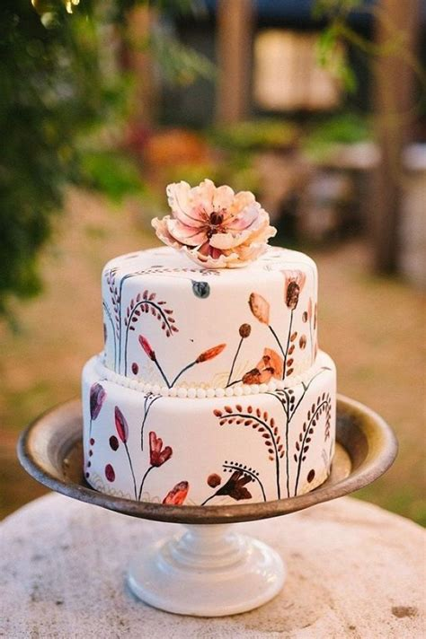 boho hand painted wedding cake  traditional fall colors