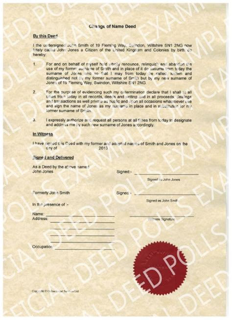 deed poll name change letter template official deed polls legally change your name by deed poll