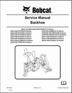 Bobcat Backhoe Service Repair Manual On A Cd