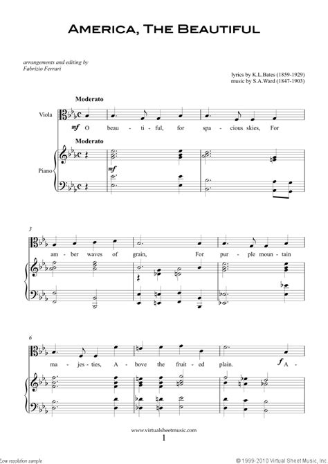 Click on the items for larger images and a full description. Patriotic Sheet Music and Songs for viola and piano, USA Tunes and Songs