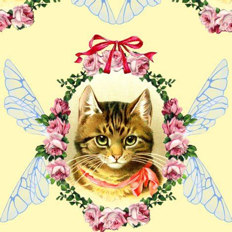 shabby tabbies fabric cats victorian bows ribbons roses flowers fairy insect wings wreaths garlands leaf leaves tabby