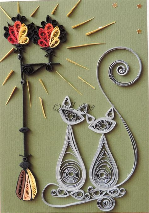 quilled cat  lamp post quilling flowers paper