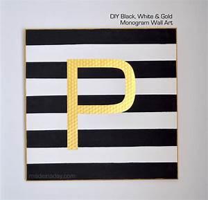 Black white gold monogram wall art