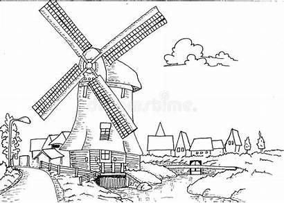 Dutch Landscape Mill Drawn Hand Culture Illustration