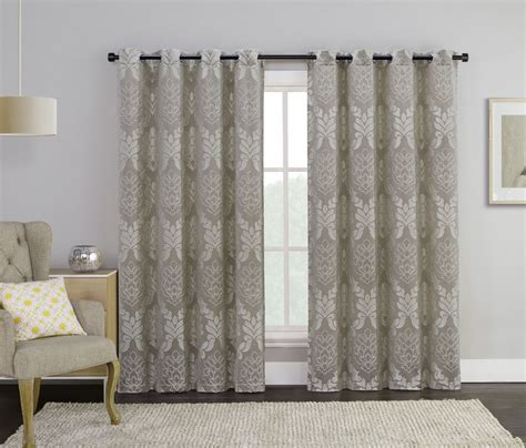 taupe single jacquard grommet window curtain panel floral