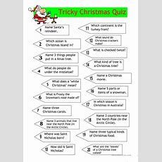 Quiz  Tricky Christmas Quiz Worksheet  Free Esl