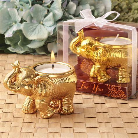 Gold Elephant Candle Wedding Favors