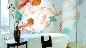Tapete Für Badezimmer : deko ideen badezimmer tapete waschbares vinyl als schmuckst ck f r die w nde ~ Watch28wear.com Haus und Dekorationen