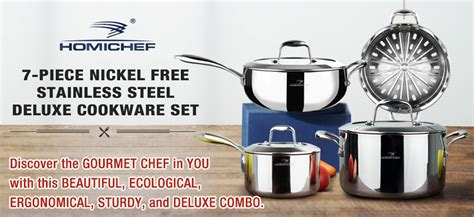 amazoncom homi chef mirror polished nickel   piece cookware set stainless steel stock