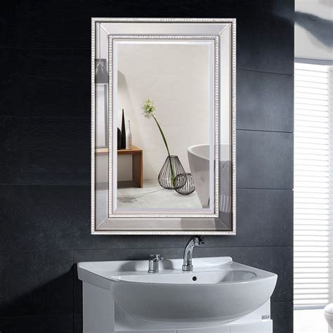 Glass Bathroom Mirrors by Costway 24 X 36 Rectangular Wall Mounted Wooden Frame