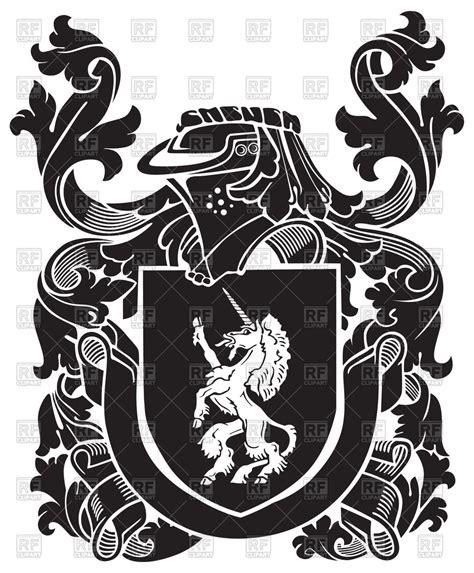 heraldic unicorn  medieval coat  arms vector stock