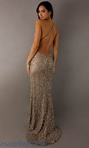 Gold Sequin Backless Prom Dress images