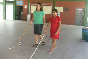 Blind Person Walking with Cane