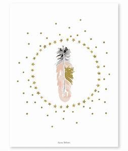 affiche deco plumes et etoiles With affiche chambre bébé avec fleurs Á envoyer