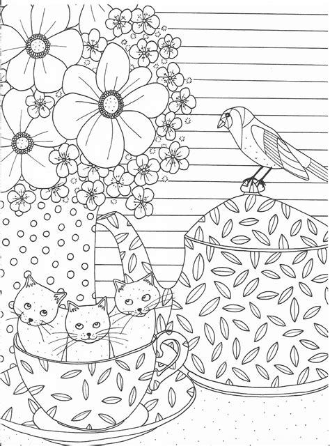Cute cats in a cup coloring page Cat coloring book