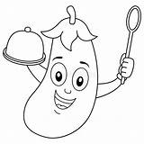 Spoon Coloring Eggplant Aubergine Melanzana Tray Coloritura Lepel Dienblad Nette Smiling Character Auberginen Wooden Faerbende Behaelter Loeffel Charakter Carattere Fahne sketch template