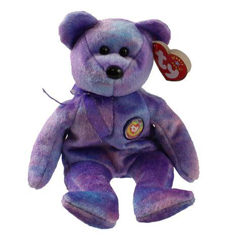 ty beanie baby clubby   bear rainbow button