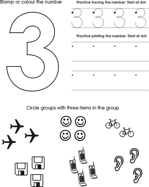 number three worksheet free preschool printable 534 | LearningNumbers 3