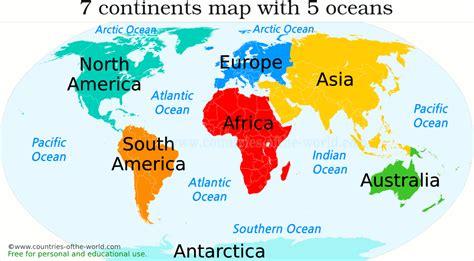 map  continents  oceans  homework