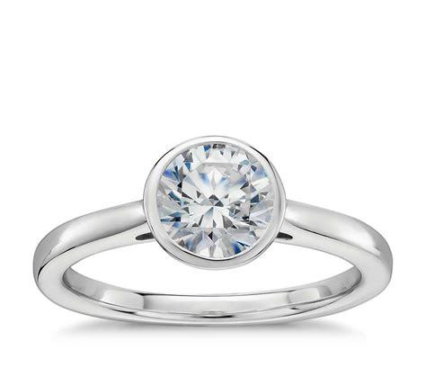 bezel setting bezel set solitaire engagement ring in 14k white gold blue nile