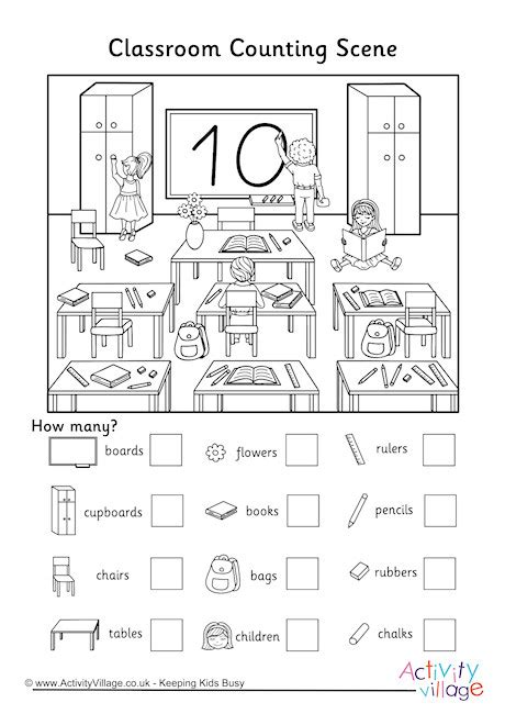 Classroom Counting Scene Worksheet