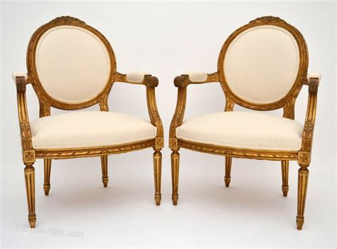 Pair Of Antique French Gilt Wood Salon Armchairs