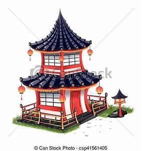 Maison Japonaise Dessin : maison tuiles japonaise toit ~ Melissatoandfro.com Idées de Décoration