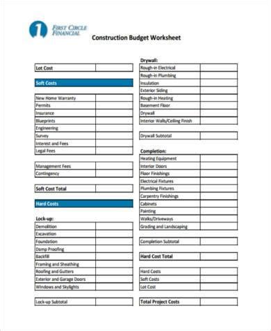 sample construction budget forms   ms word