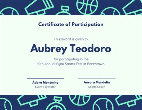 customize  sport certificate templates  canva