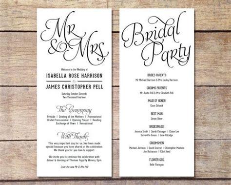 non traditional wedding reception program ideas simple wedding program customizable design simple classic wedding black and