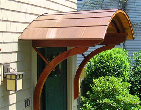 door hood  copper  period style support brackets paradigm shingles door awnings