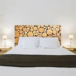 Tete De Lit Bois Vieilli : sticker t te de lit rondins de bois d coration tendance pour la chambre ~ Teatrodelosmanantiales.com Idées de Décoration
