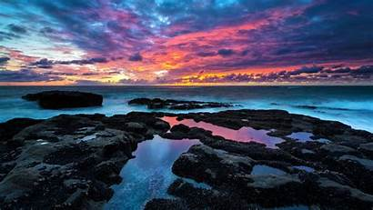 Ultra Backgrounds Sea Nature Colourful Cloudy Rocks